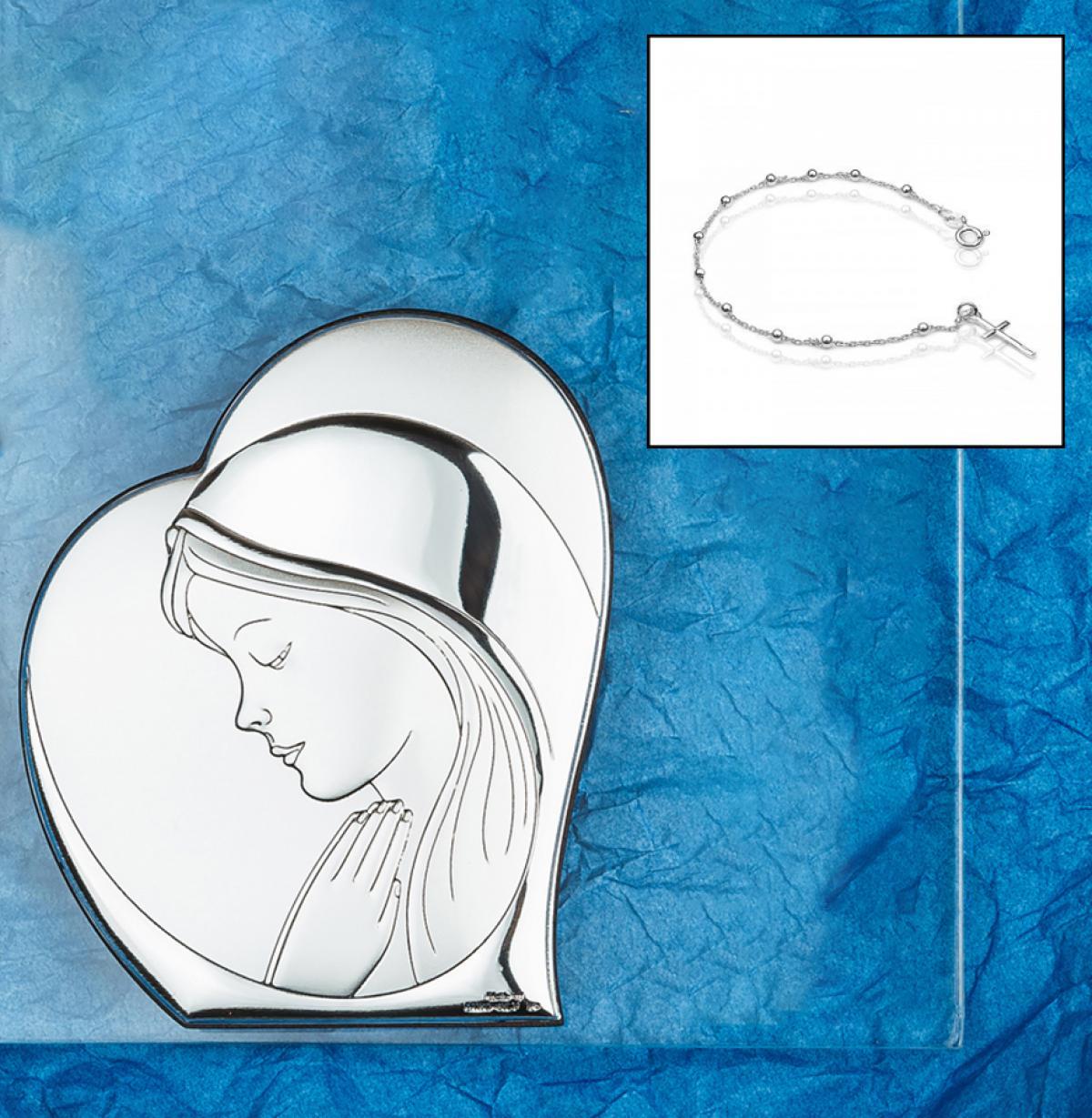 Подаруковий набір ``Срібна ікона Богородиці + срібний браслет-вервиця``