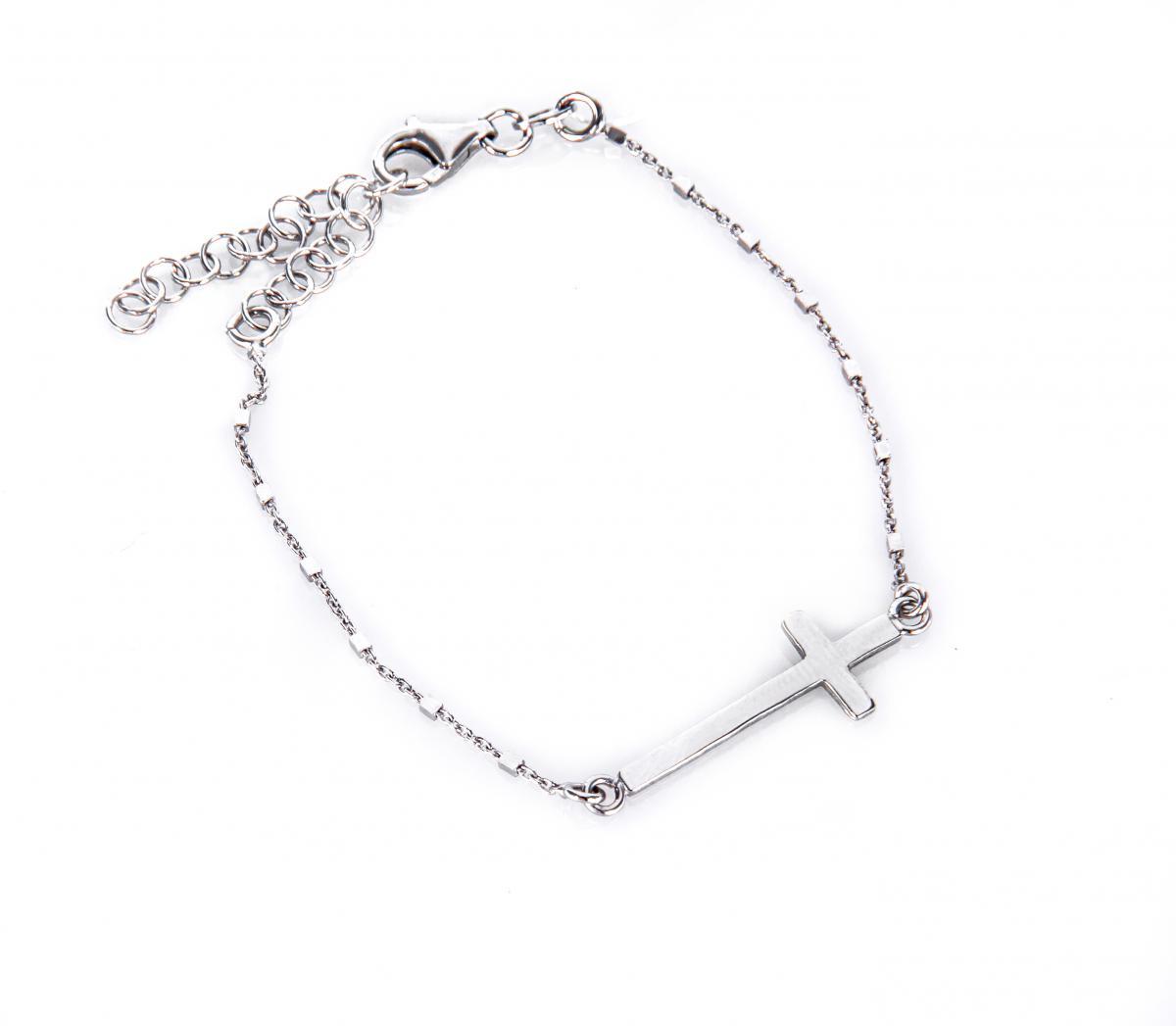 Браслет срібний з намистинками та хрестиком (розмір 21)