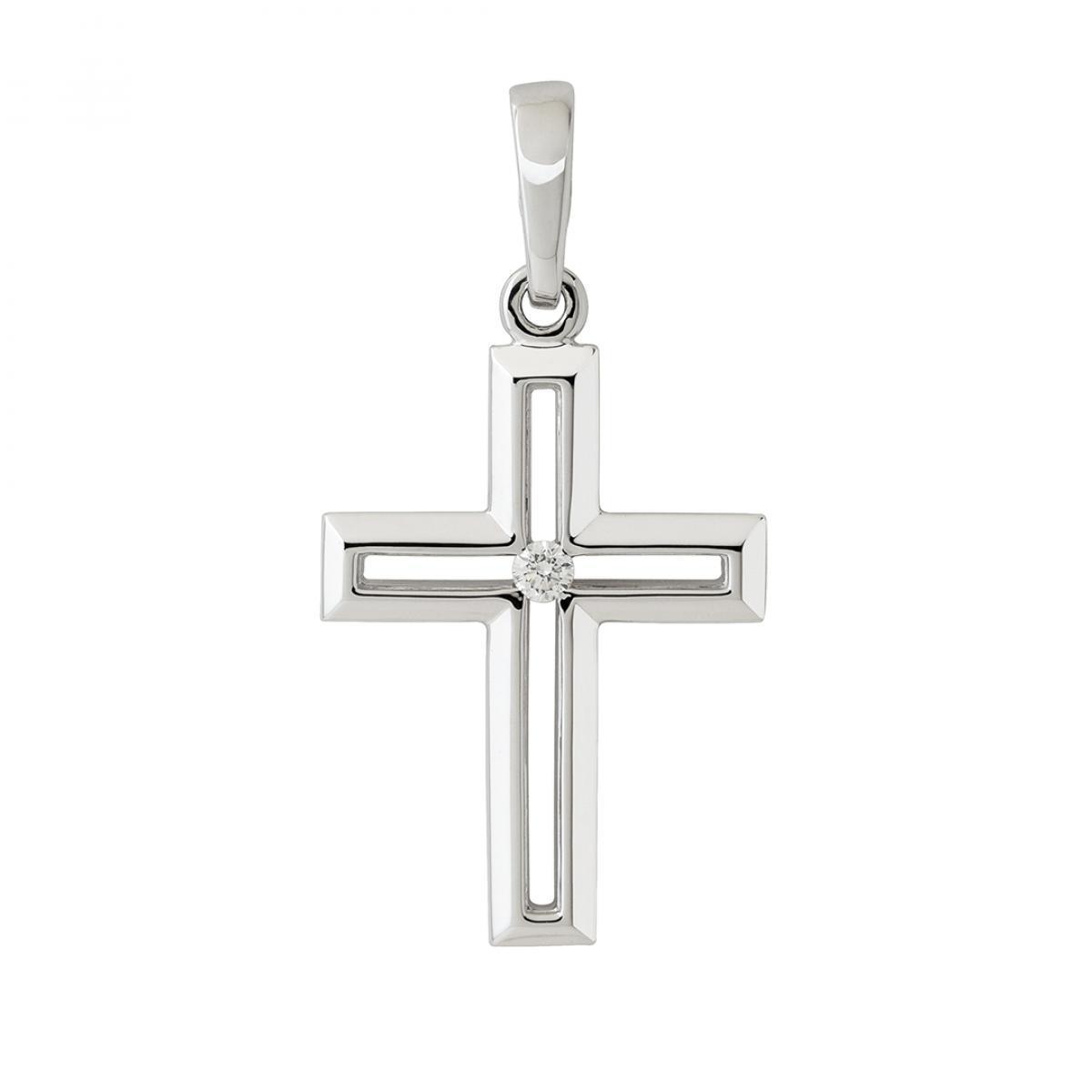 Жіночий хрестик з білого золота із вставкою циркону
