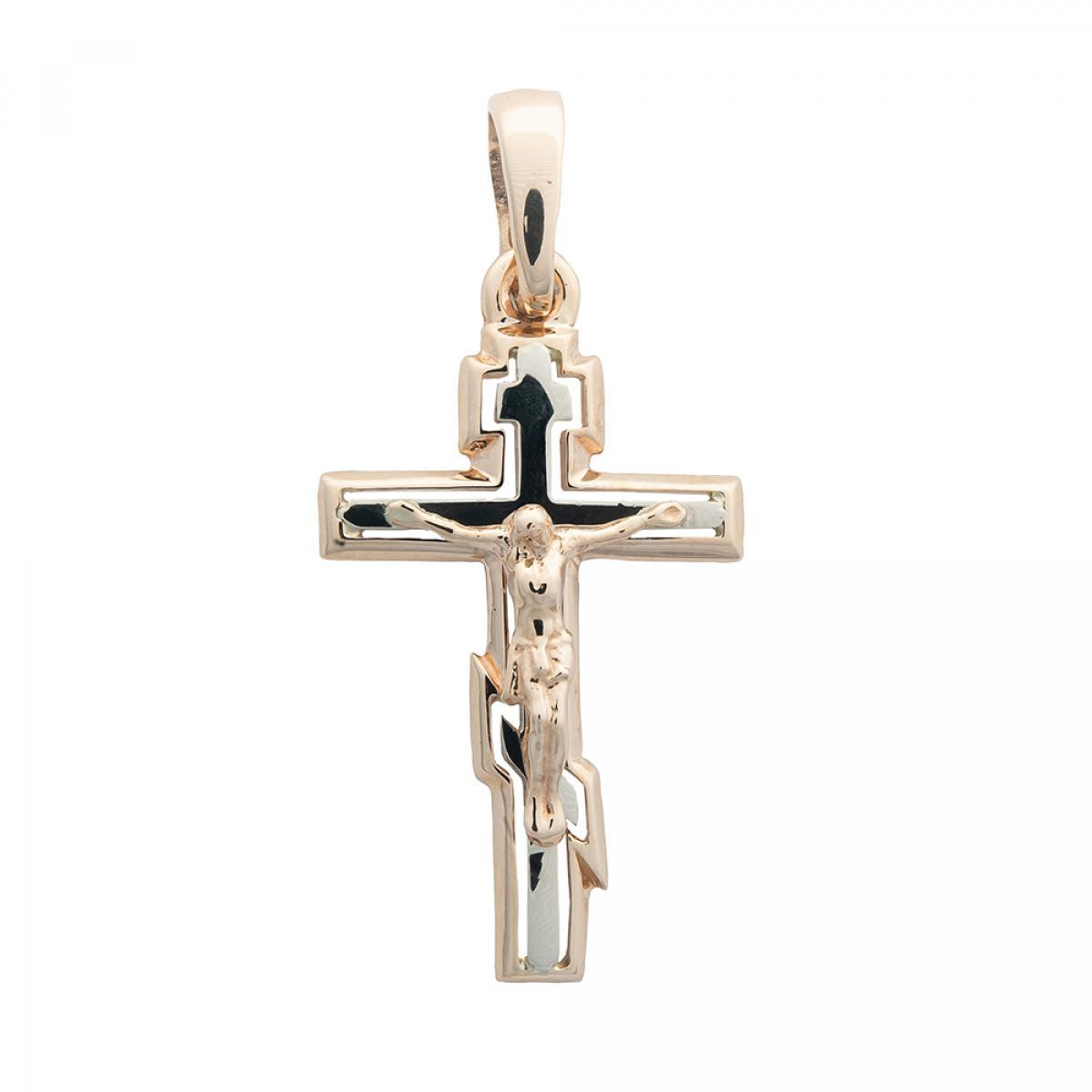 Хрестик з розп`яттям з комбінованого золота 305-0805