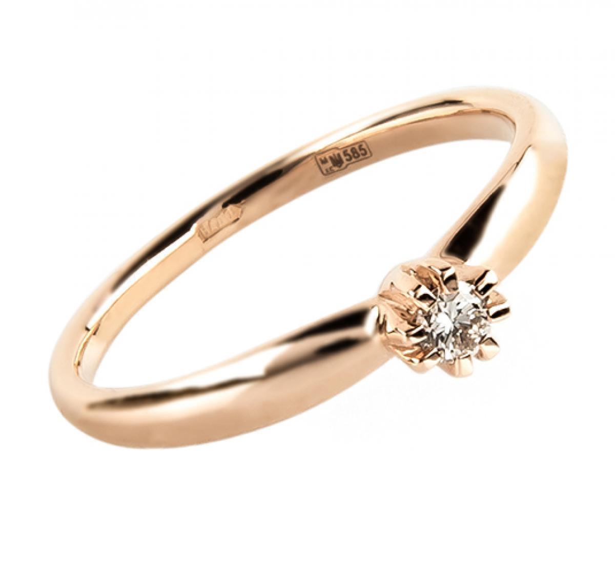 Золота каблучка з діамантом ``Helen``(16,5-2,26)