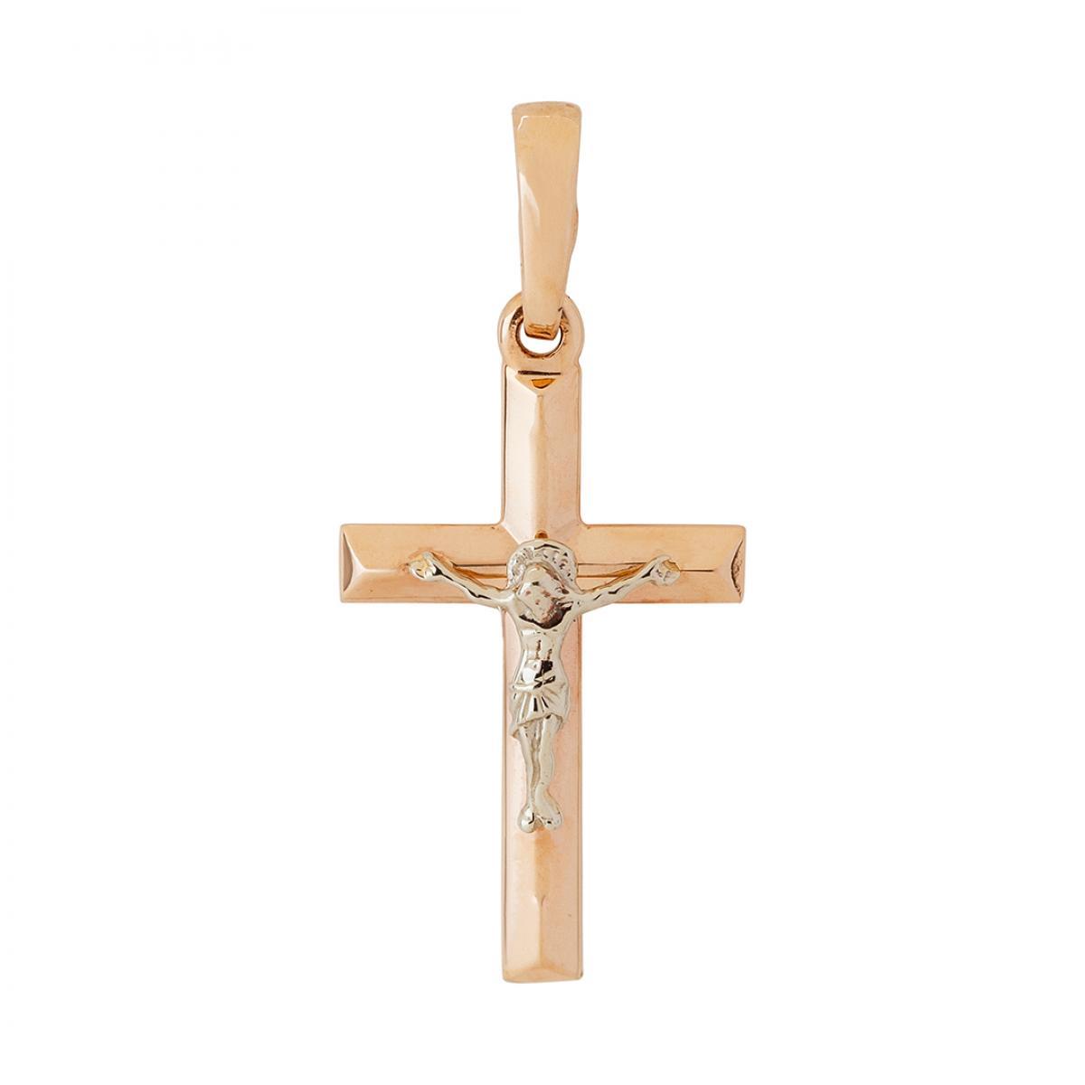 Золотий натільний хрестик з розп`яттям