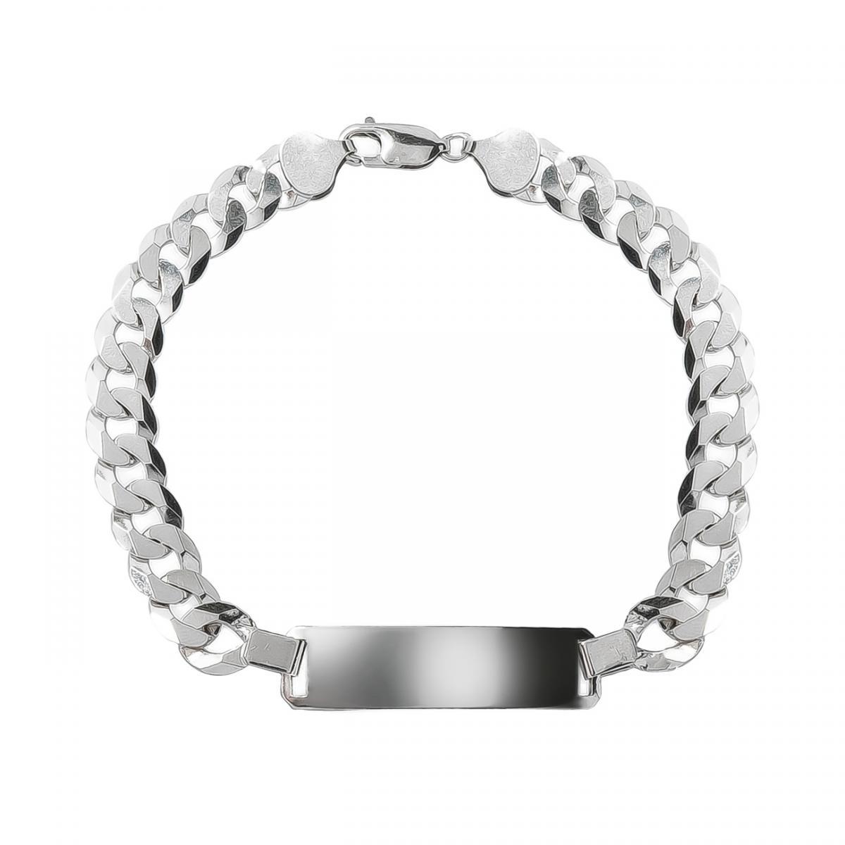 Чоловічий срібний браслет з пластинкою для гравіювання (21.5)