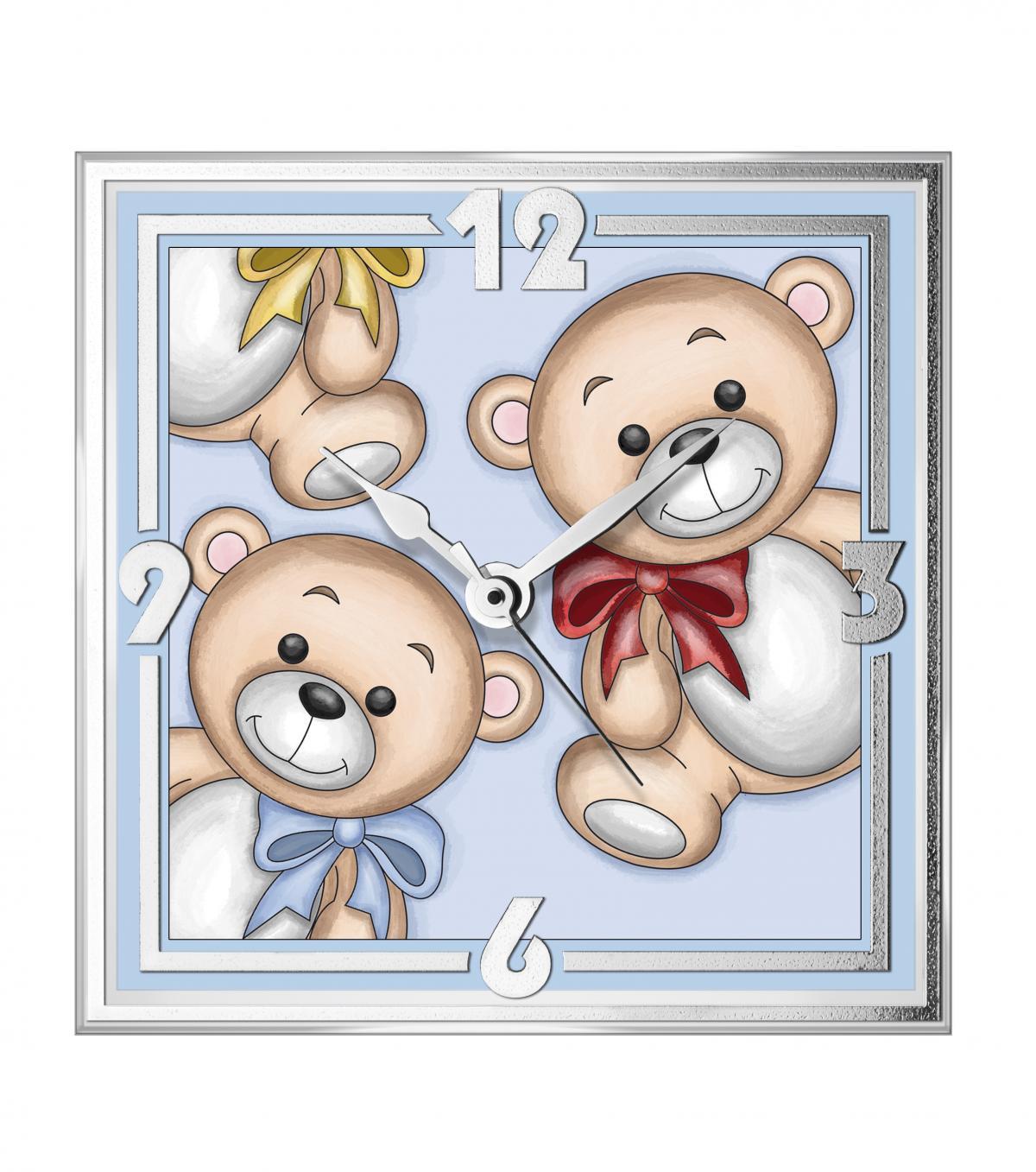 Годинник скляний в дитячу кімнату ``Teddy Bear`` (13х13см) 12647 C