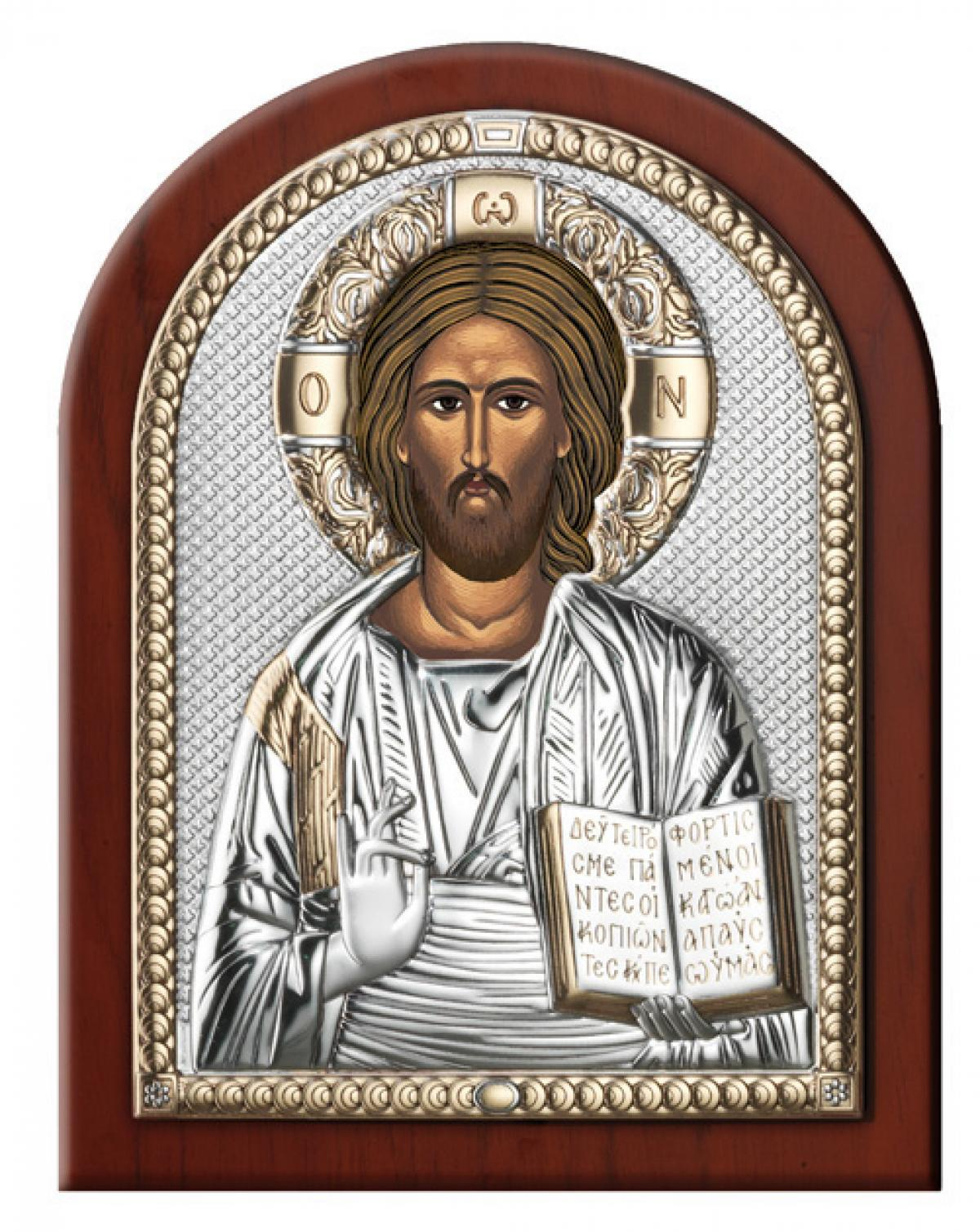 Ікона срібна Ісус Христос Вседержитель 15х20см 84000 3L ORO