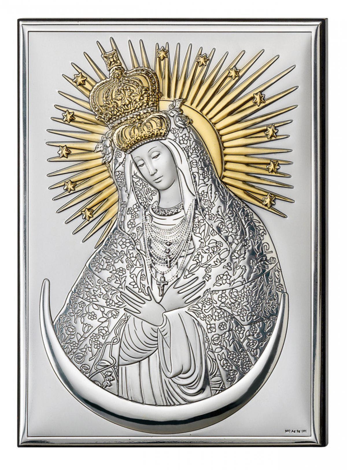 Ікона срібна Богородиця Остробрамська 13х18см 18062 4L