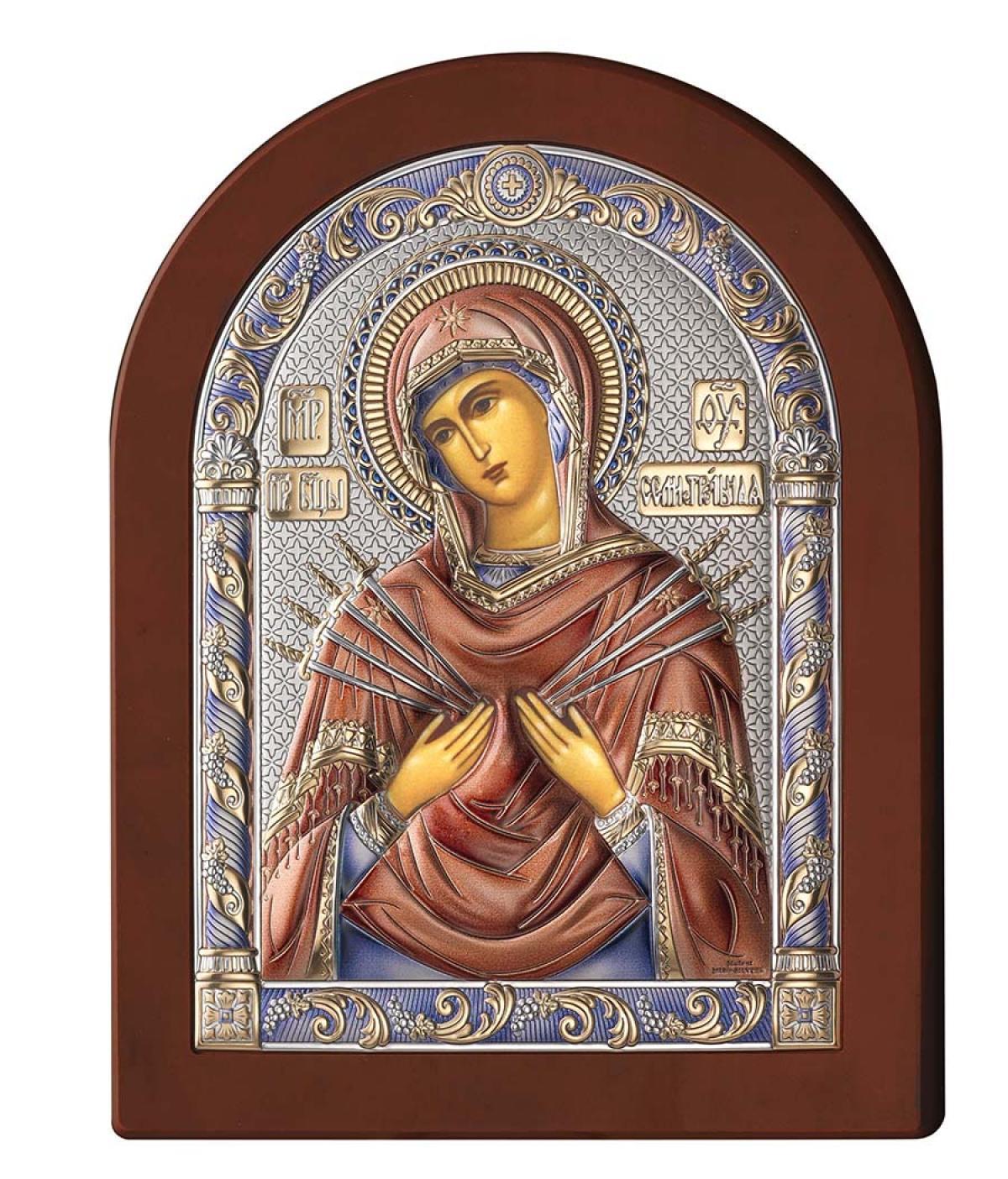Ікона срібна Богородиця Семистрільна 17х22см 84122.5LCOL