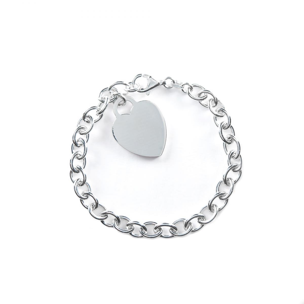 Срібний ланцюговий браслет ``Серце`` (розмір 18.5)