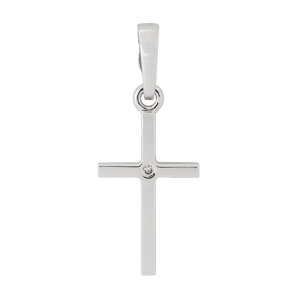 Мінімалістичний хрестик з білого золота із вставкою цирконію