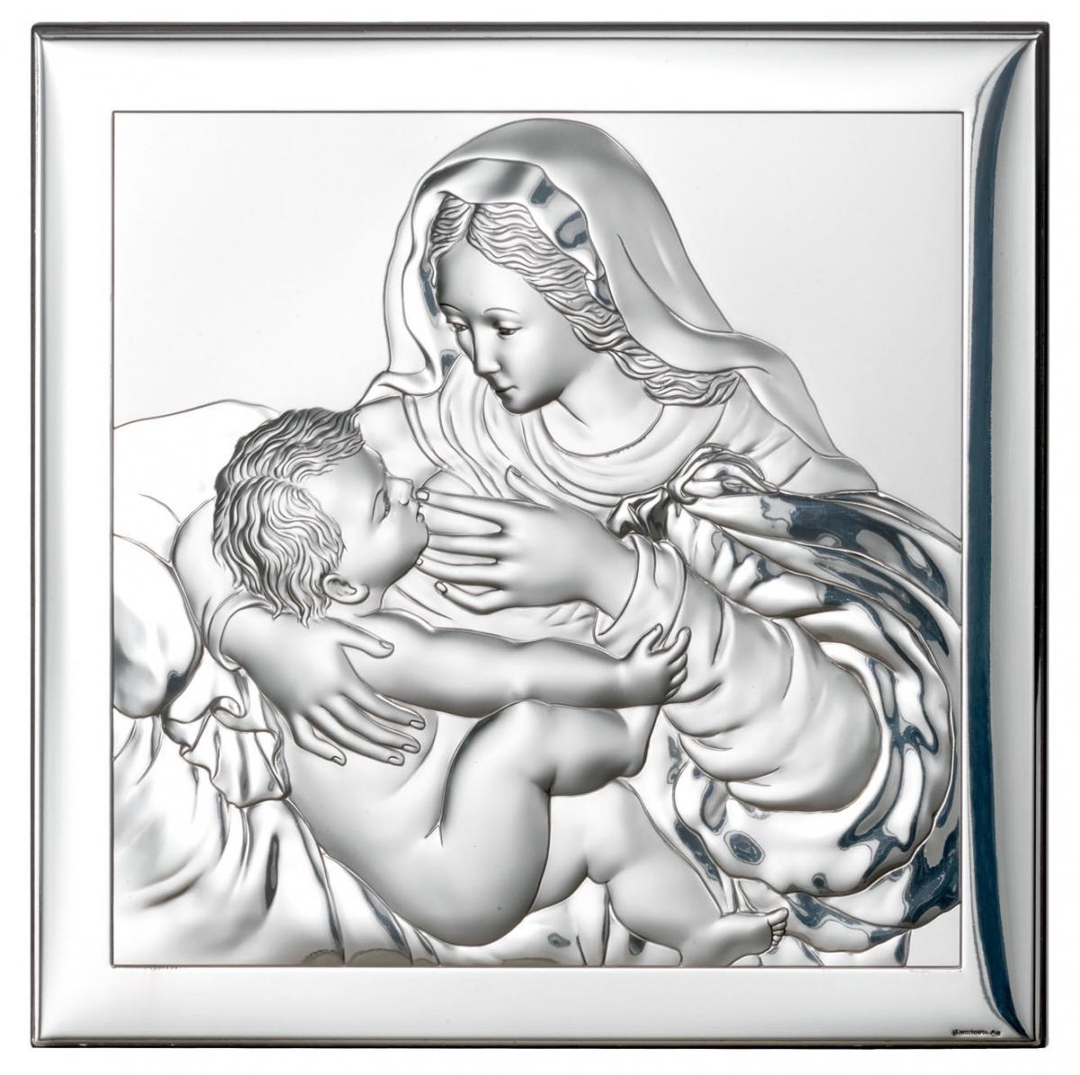 Ікона срібна Матір Божа Годувальниця 18х18см 80002 4XL