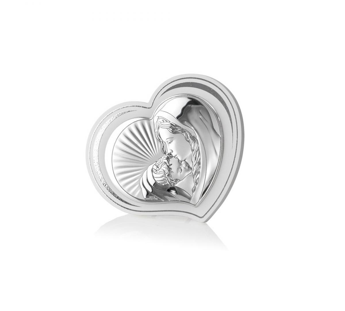 Ікона срібна Богородиця з дитям 11х8см 81297.2L