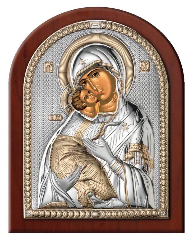Ікона срібна Матір Божа Володимирська (7.5х11см)  84080.2L.ORO