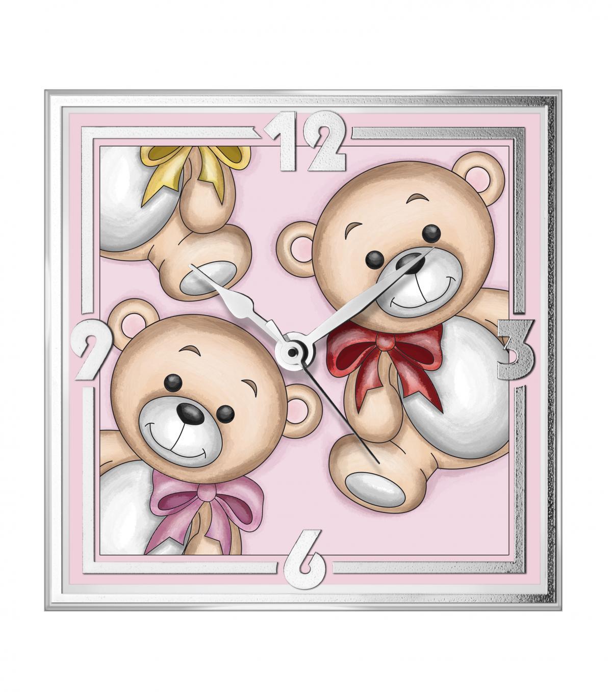 Годинник дитячий настільний ``Teddy Bear`` рожевий  (13x13см)
