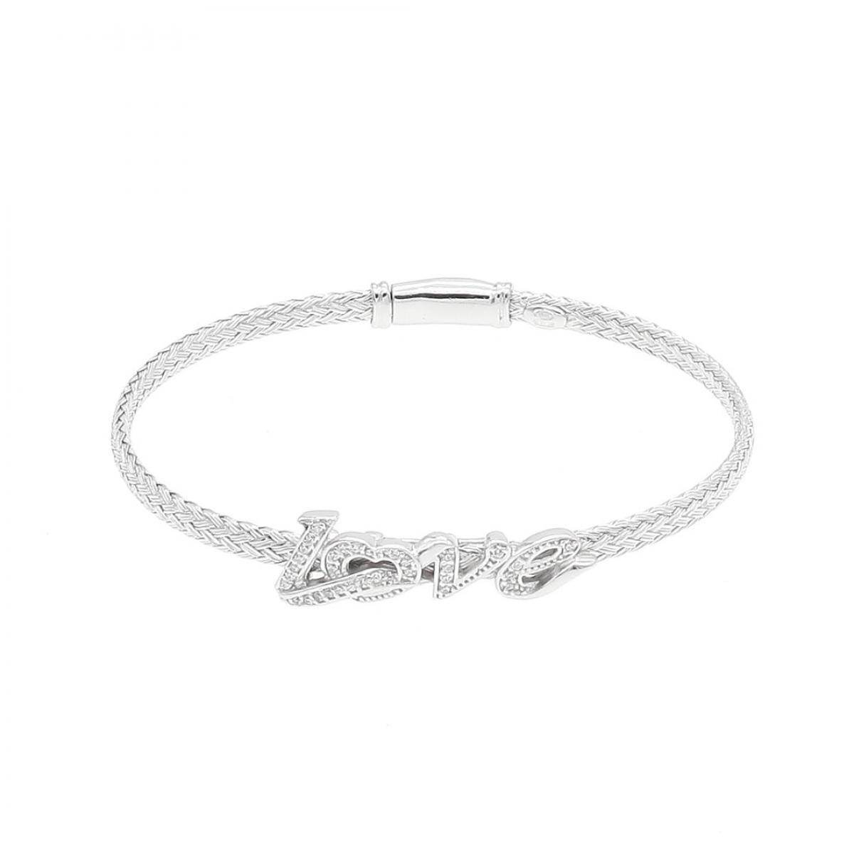 Браслет срібний жорсткий ``LOVE`` (розмір 17)