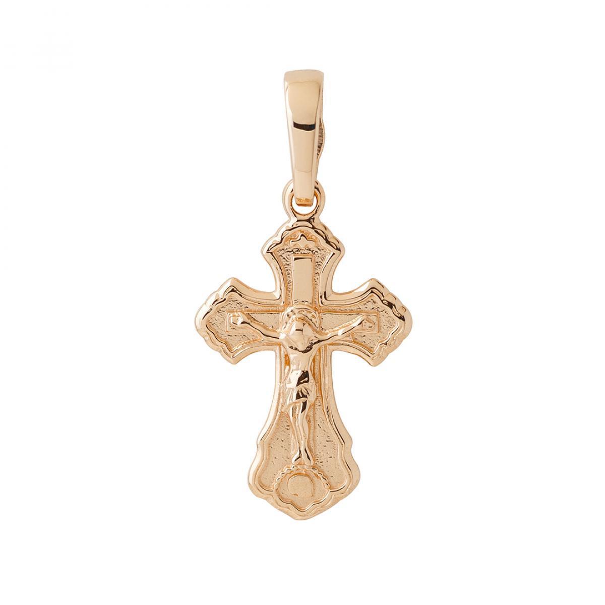Натільний маленький хрестик із білого золота