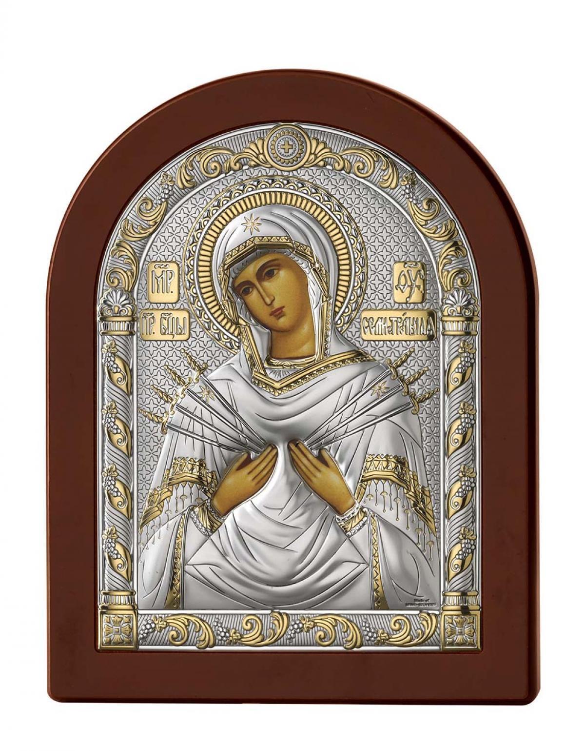 Ікона срібна Богородиця Семистрільна 17х22см 84122.5LORO