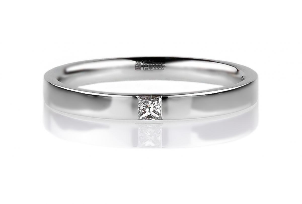 Обручка в білому золоті з діамантом ``Романтизм`` (3мм)(16,5-2,34)