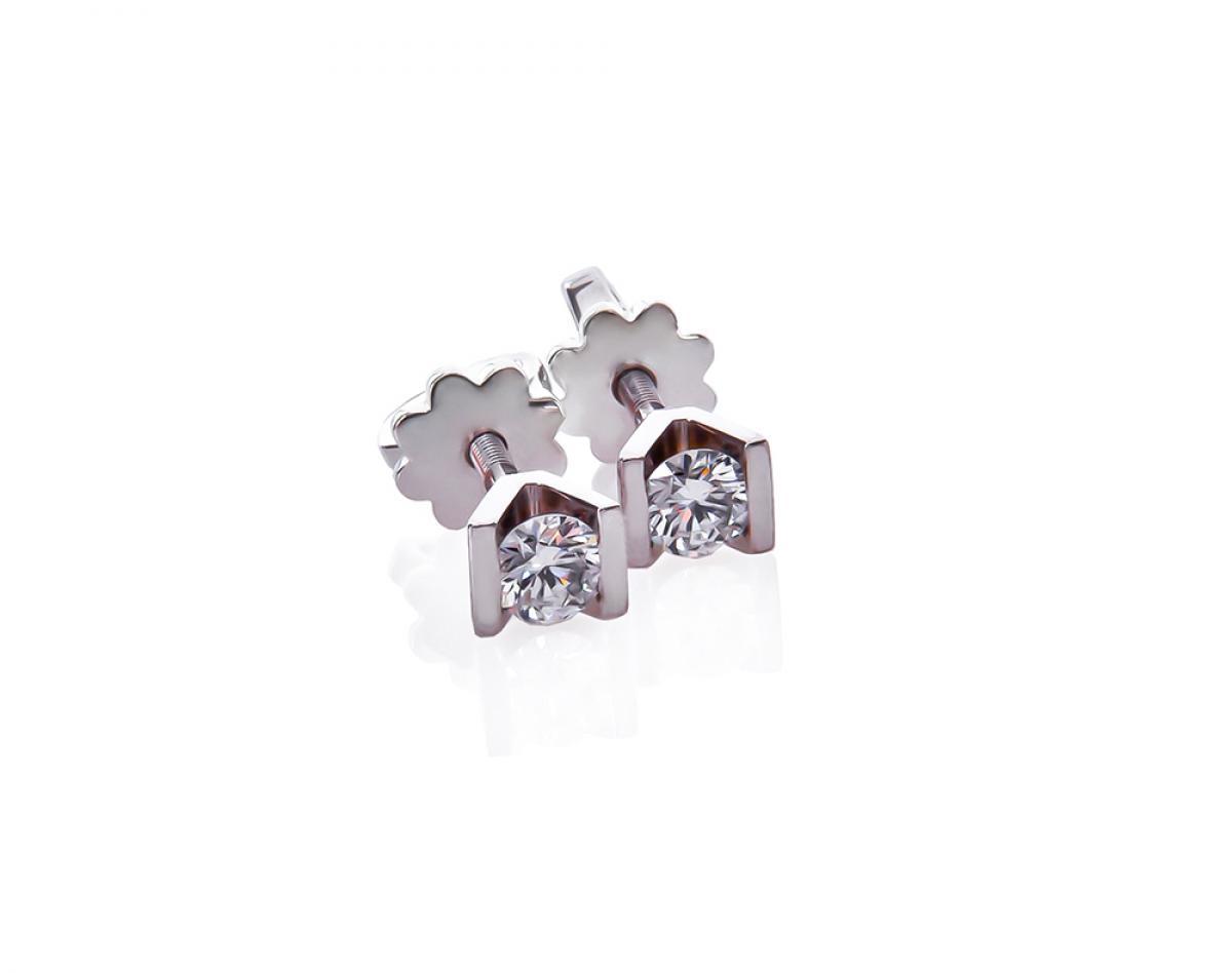 Сережки з діамантами з білого золота Авангард